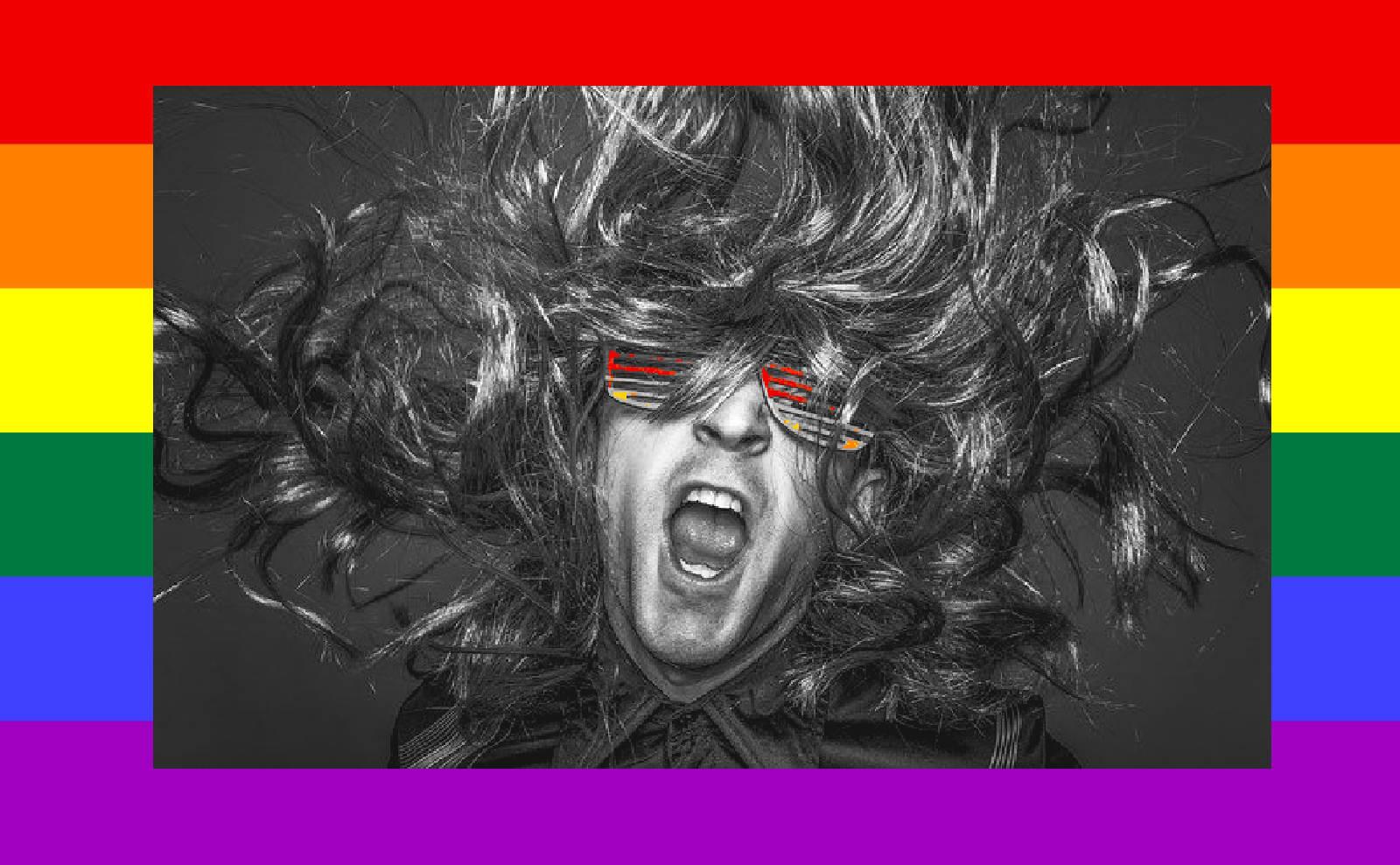 Cantante rock su bandiera rainbow